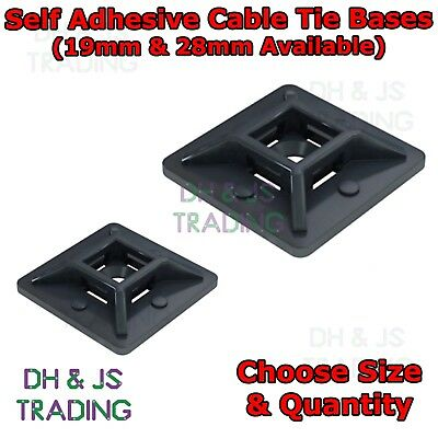 Self Adhesive Cable Tie Mounts - Clips Wire Conduit Tubing Cable Tie Bases Base