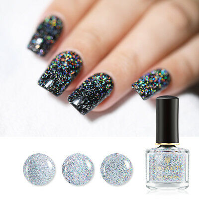 BORN PRETTY 6ml Sequined Holographic Top Coat Nail Polish Glitter Clear