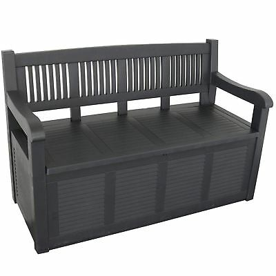 Plastic Garden Outdoor Bench with Storage Box Cushion Ottoman Patio Chair Seat