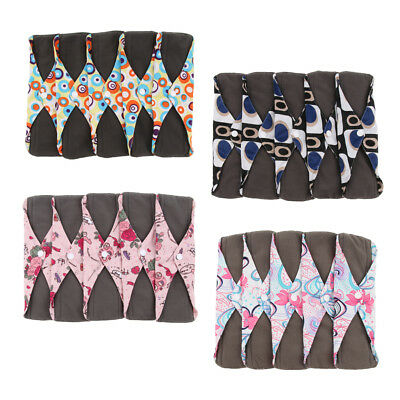 5 x Sanitary Napkin Liners Bamboo Menstrual Pads Towel with Wings for Women