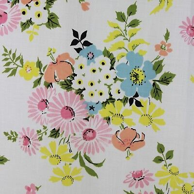 Vintage Full Flat Sheet Pequot Flower Bouquets Floral Pink Blue Yellow Daisies