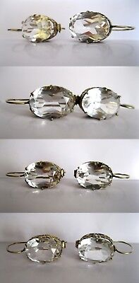 AWESOME HUGE ROCK CRYSTAL Shining Earrings Silver Gold plated 875 USSR Antique