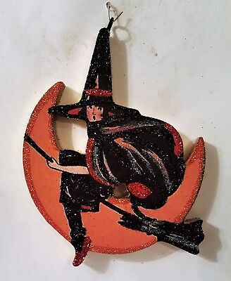 WITCH Flying on BROOM, CRESCENT MOON * Glitter HALLOWEEN ORNAMENT * Vtg Img