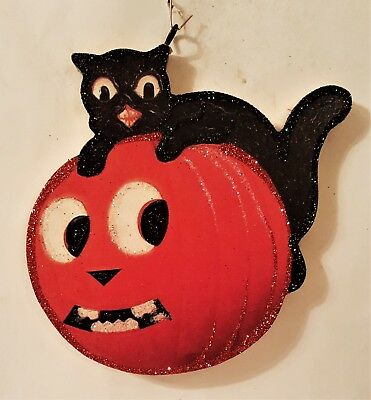 BLACK CAT on JOL PUMPKIN  * Glitter HALLOWEEN ORNAMENT * Vtg Img
