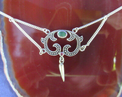 Necklace Art Nouveau Style Elements with Stone Malachite Green