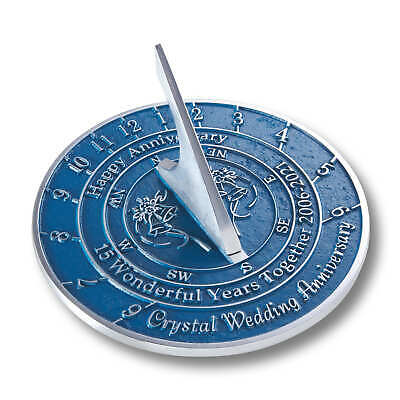 Crystal 15th Wedding Anniversary Sundial Gift Idea Is A Great Present