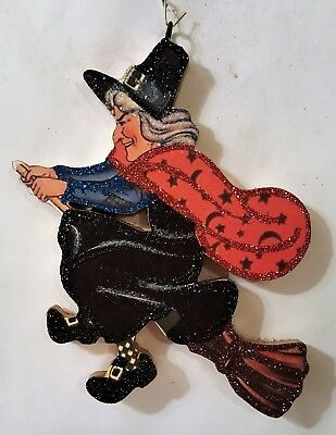 WITCH w CELESTIAL CAPE, STARS  on BROOM * Glitter HALLOWEEN ORNAMENT * Vtg Img