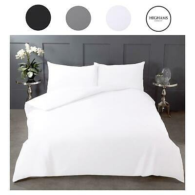 Highams Pure 100% Cotton Duvet Cover and Pillowcase Bedding Set Grey White Black