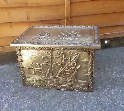 Vintage Brass And Metal Log Coal Storage Box With Embossed Ship Scene