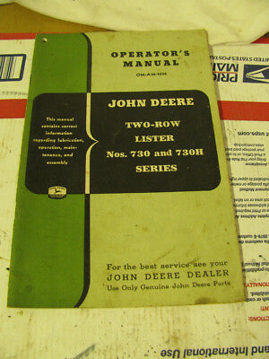 john deere two row lister 730 730h   operating manual