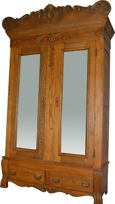 17258 Oak Carved Bevel Glass Mirror American Wardrobe