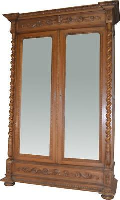 17191 Carved Walnut Bevel Mirror Wardrobe Armoire with Rope Turn Columns
