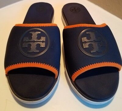 6e4be4bae021a9 Tory Burch Authentic Navy Blue Neoprene Logo Slide Sandals Shoes Size 6.5 M