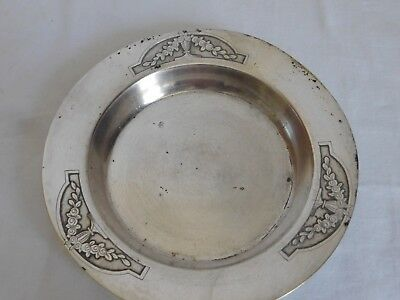 Plate to boiled silvered metal goldsmith Ruffier art déco pattern vases