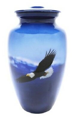 Large/Adult 200 Cubic Inch Aluminum Soaring Eagle Cremation Urn for Ashes
