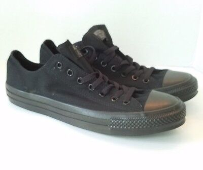 Converse Black on Black All Star Lo Top Mens 11 Womens 13 Unisex Canvas Trainers