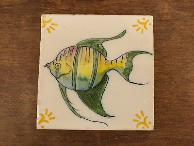 "Vtg Hand Painted Glazed Ceramic Clay Pottery Fish Tile 5.5"" x 5.5"" Santana"