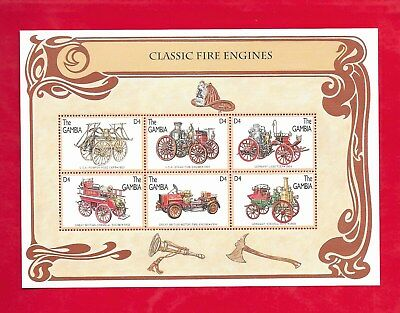 1996 GAMBIA OLD CLASSIC FIRE ENGINES Souvenir Sheet of 6 Stamps
