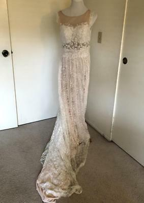 Vintage large white lace over champagne 36D custom made backless wedding gown