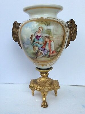 French Sevres Style Handpainted Porcelain Bronze Ram Heads & Foot Vase,signed.12