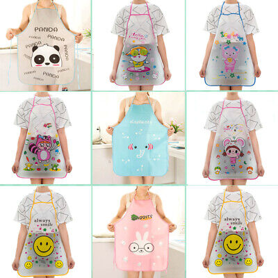 Women Childrens Waterproof Cartoon Kitchen Cooking Bib Apron Baking School Gift