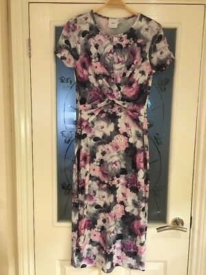 Ladies Clothes Size 10 ASOS Pink Grey Midi Dress Floral Maternity