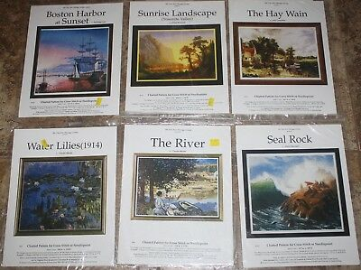 Lot of 6 ~ Fine Arts Heritage Society ~ Cross Stitch ~ The River, Water Lilies+