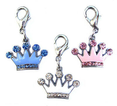BRAND NEW Diamante Crystal Crown DOG CHARMS Pink Blue White Silver Pet Clip on