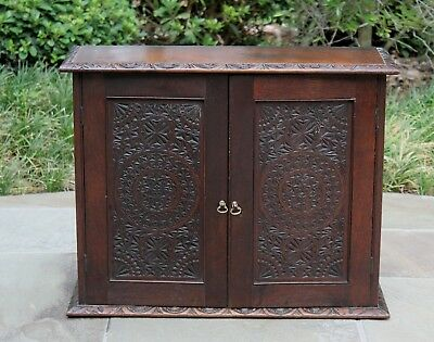 Antique English Carved Oak Hanging Wall Cabinet Shelf Renaissance Tudor 19th C