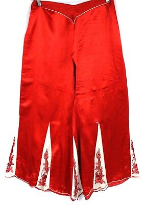 Vtg 1920s SILK Satin Palazzo Pants RED 5 Toe Dragons Pajama Bottoms Womens Embr.