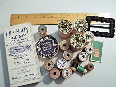 Vintage Antique Lot of Sewing Items *Interesting*  Wooden Spools