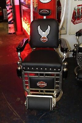 1930-40s Kochs Harley Davidson Themed Antique Barber Shop Chair