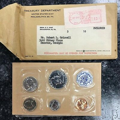1957 U.s. Mint 5 Coin Proof Set In Original Government Packaging! Nice Set ~ Nr!
