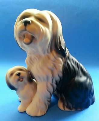 "Vintage Old English Sheepdog and Pup Porcelain 5.5"" Tall Figurine"