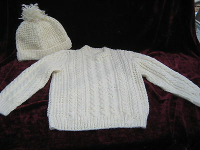 English Vintage Hand Knitted Aran Cable Sweater & Matching Hat Child's 2T VGC