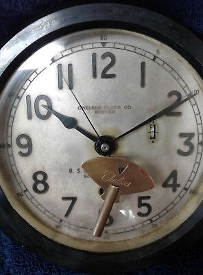 """Chelsea Clock US Maritime Commission Bakelite Housing 6"""" Dial With Key 1940's"""