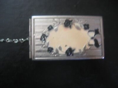 Dance Or Wrist 1920's Compact Floral Deco Silver Tone