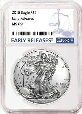 2018 AMERICAN SILVER EAGLE S$1 Blue Early Releases NGC MS69