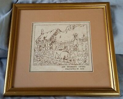 Vintage Framed Embroidery Ann Hathaways Cottage Professional Frame & Matt