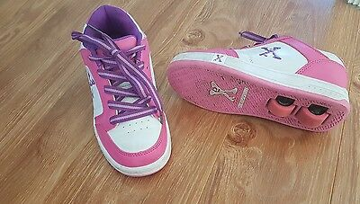 Girls pink & white wheelies roller shoes with wheels size  3