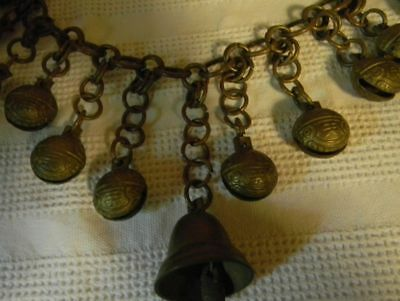 Antique Rare Bronze Chain of Bronze Bells 18 Inches With Center Bell Ex Cond