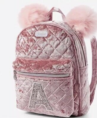 "NWT JUSTICE Girls Pink Velvet Quilted Initial ""MINI"" Backpack You Choose Letter!"