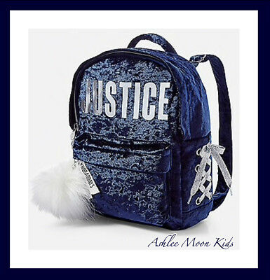 "NWT JUSTICE Girls Navy Velvet Logo Lace Up ""MINI"" Backpack"
