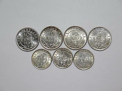 Canada 10 & 5 Cents Mixed Date Newfoundland Variety World Coin Collection Lot #f
