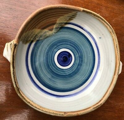 "9.5"" Square ish Hand Painted Studio Pottery Bowl signed ""Pace"""
