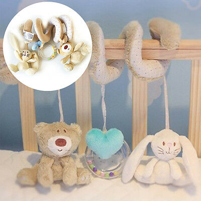 Newborn Baby Kid Animal Rattles Spiral Stroller Bed Cot Crib Hanging Doll Toy US