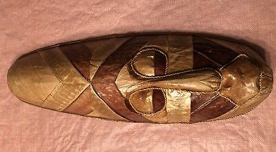 Ceremonial Mask Handmade Carved Mask With Real Leaves / Twine African? Rare