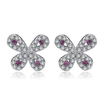 Jewelrypalace Butterfly Created Ruby Stud Earrings 925 Sterling Silver