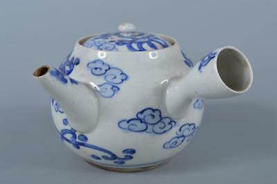 K6067: Japanese Old Kiyomizu-ware Bird Cloud pattern BIG TEAPOT Kyusu Sencha
