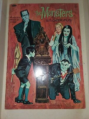 The MUNSTERS vintage 1965 sticker fun coloring book RARE 1960's VERY DISPLAYABLE